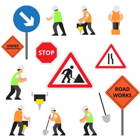 Road work icons or artworks elements set