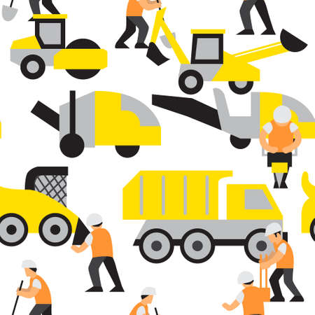 city lights: Vector illustration road or construction work elements seamless pattern included workers people