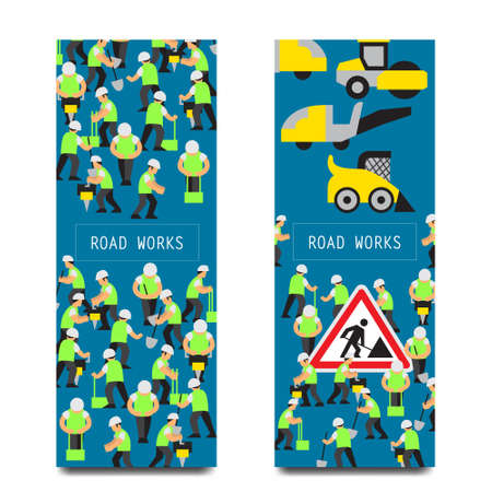 city lights: Vector illustration road or construction work elements isolated vertical banners included workers people