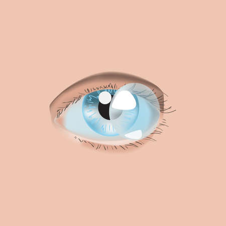 Realistic style vector illustration with eye and contact lens