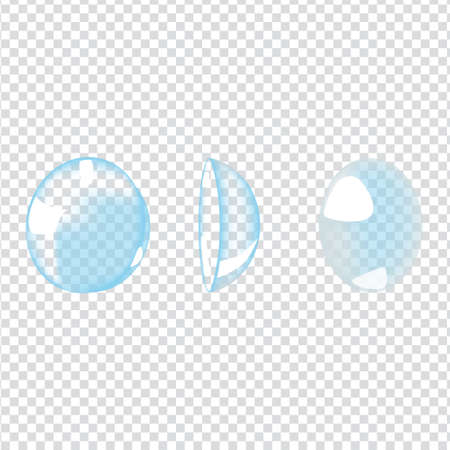 Vector illustration with photo realistic contacts lenses on transparent background Illustration