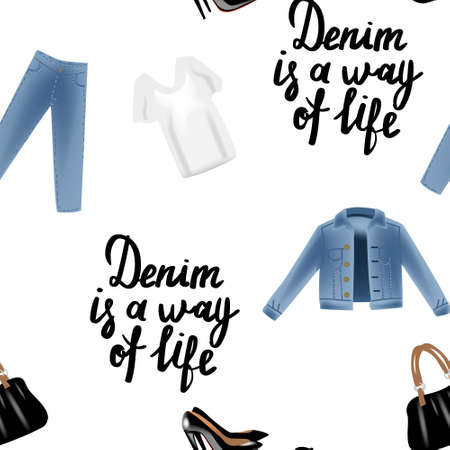 chick: Vector realism pattern with hand drawn realism illustrations modern look jeans denim jacket. Illustration