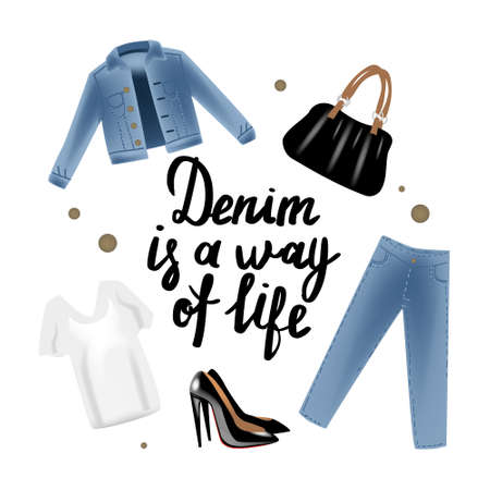 Fashion vector photo realism illustration with blue jeans jacket, bag, shoes, shirt and hand writing calligraphy denim is a way of life. Isolated on white background Illustration