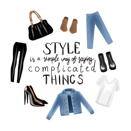 Fashion vector photo realism illustration with blue denim jeans jacket, bag, shoes, shirt and hand writing calligraphy style is a simple eay of saying complicated things.