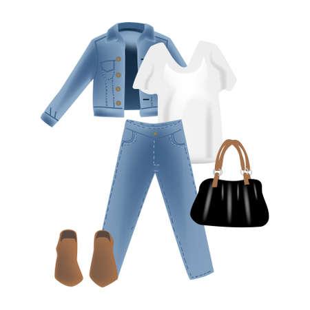 Vector realism illustration with modern look jeans denim jacket. Illustration
