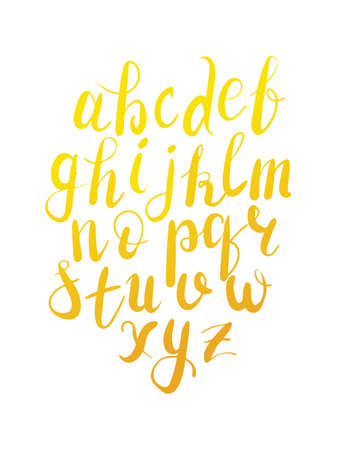 Vector hand lettering calligraphy alphabet in gold color on isolated white background