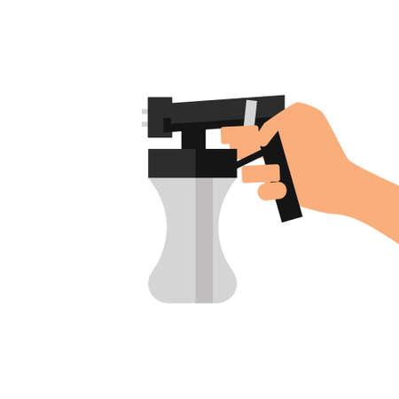 Vector tanning spray machine illustration with hand Illustration