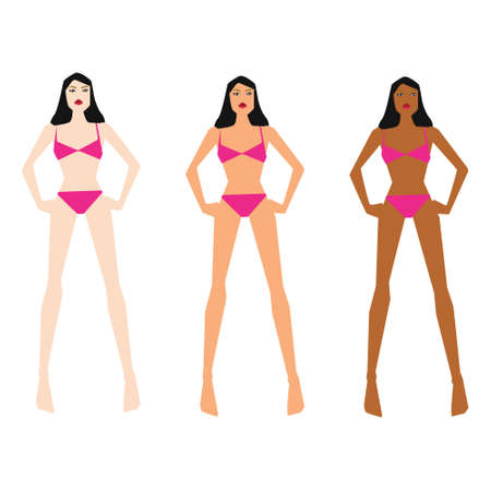 Vector illustration with different skin tones Illustration