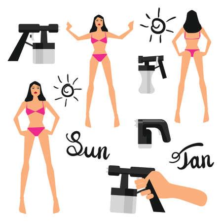 Vector illustration with tan spray elements set on white isolated background Ilustração