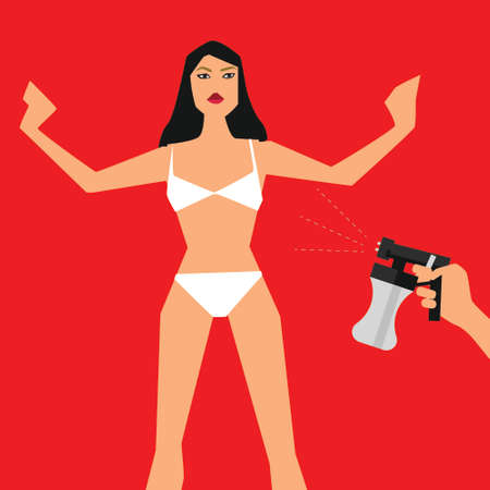 Vector illustration with woman standing front and hand with spray tan machine on red background Stock Vector - 83439016