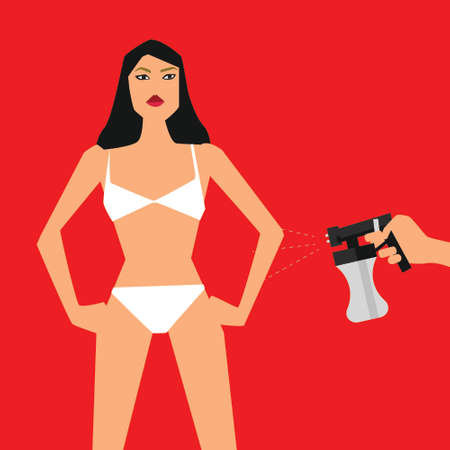 Vector illustration with woman standing front and hand with spray tan machine on red background