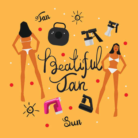 Vector illustration with tan spray machine woman in bikini and hand lettering calligraphy text on yellow background Illustration