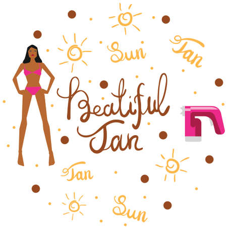 Vector illustration with tan spray machine woman in bikini and hand lettering calligraphy text on white background Illustration