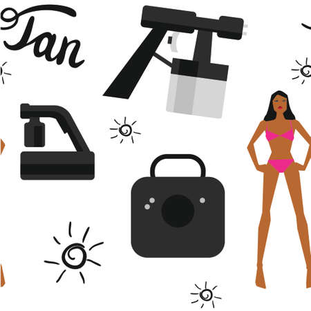 bodywork: Vector seamless pattern with tan spray machine woman in bikini and hand lettering calligraphy text