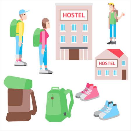 Vektor eingestellt mit billiger Reise der Illustrationen. Hostel, Trampen und touristisches Material Standard-Bild - 84624518