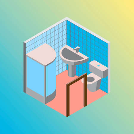 Vector design concept with isometric 3d hostel or hotel bath and toilet room illustration