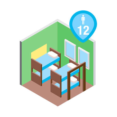 Isometric hostel bed room vector illustration