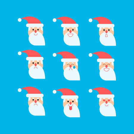 Vector illustrations set in flat style with santa in different emotions Illustration