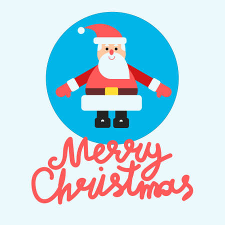 Vector illustration with santa claus at blue background in modern flat style. Card or banner design with hand lettering Stock Photo