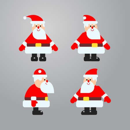 Santa in different directions vector set Illustration