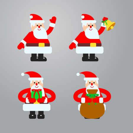 Vector illustrations set in flat style with santa in different actions. Good for animations and design works.