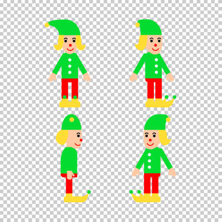 Vector illustrations set in flat style with christmas elf in different directions. Good for animations and design works.