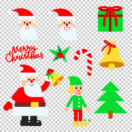 Vector illustration set for christmas design in flat style with santa and hand lettering calligraphy Illustration