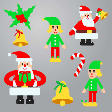 Illustration set for christmas design in flat style with santa and elf