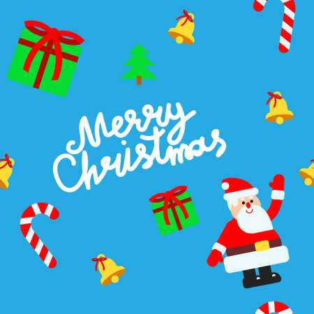 Pattern for christmas design in flat style with Santa Claus