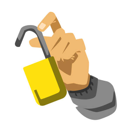 Hand with opened locked vector illustration on white background Illustration