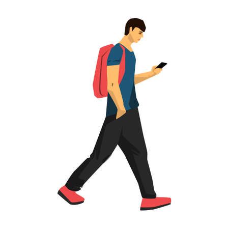 Man walking with smart phone vector illustration on white background