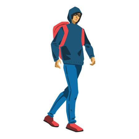 Hacker student walking vector illustration on white background