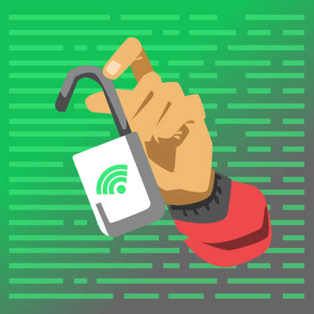 Hand showing opened lock. Hacker attack vector illustration