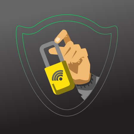 Hand showing closed lock. Hacker attack vector illustration Illustration