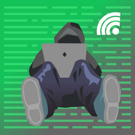 Vector flat illustration with young hacker is attacking data servers