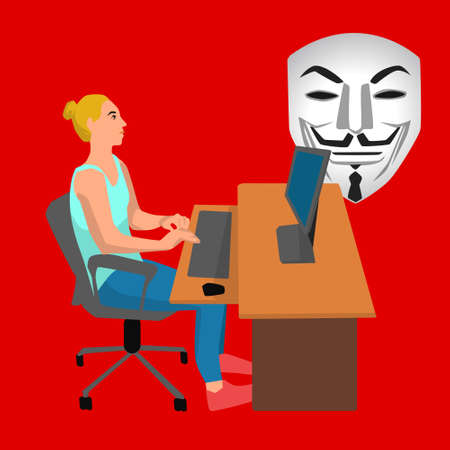 Vector flat illustration with office woman working on her laptop by the desk and hacker anonymous mask