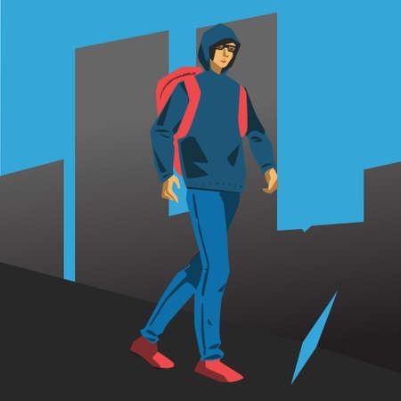 Hacker student walking vector illustration Banco de Imagens