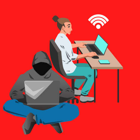 Vector flat illustration with office woman working on her computer by the desk and hacker sitting with laptop on red background