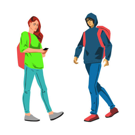 Vector flat illustration with young students woman and man walking set Stock Photo