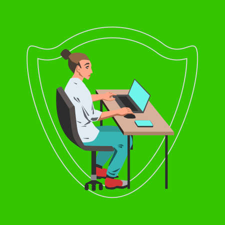 Vector flat illustration with office woman working on her computer by the desk and safety shield image on green background