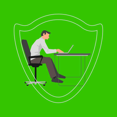 Vector flat illustration with office man working on computer by the desk and safety shield image on green background
