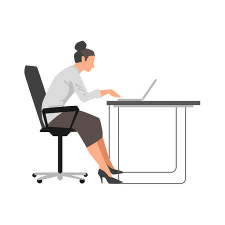 Vector flat illustration on separate white background with office woman working on her laptop by the desk Banco de Imagens
