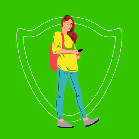 Vector flat illustration with young student woman walking with smart phone in hand on green background