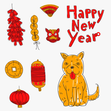 Vector hand drawed elements pack for chinese new year celebration 2018 with dog