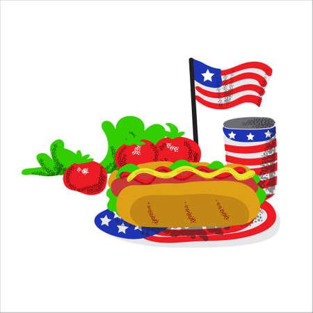 Memorial day picnic food illustration hot dog