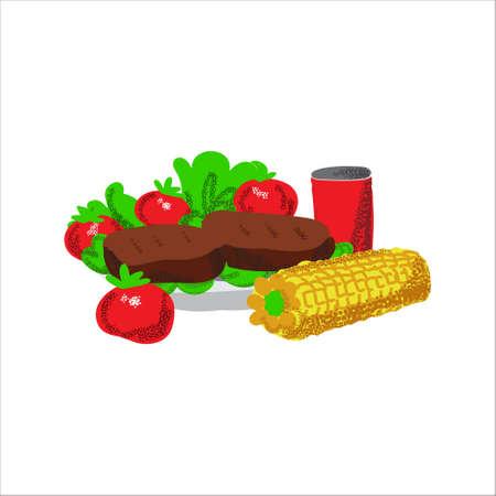 Memorial day picnic food illustration barbecue Illustration