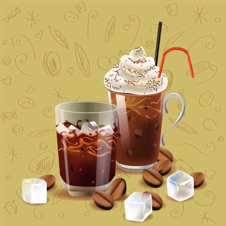 Iced coffee realism style vector illustration