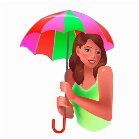 Vector illustration of smiling woman holding colorful umbrella. Illustration