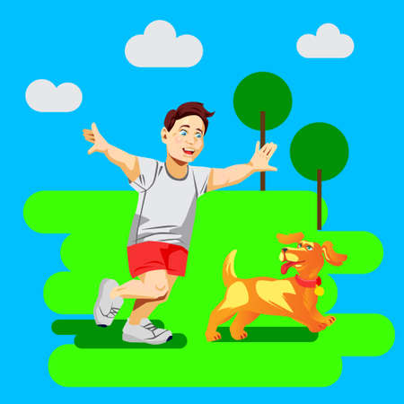 Flat vector illustration with boy play with dog