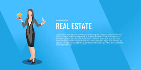 Realtor holds a key in hand and small house flat, illustration, vector